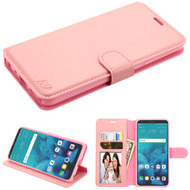 Book-Style Leather Folio Wallet Case for LG Stylo 4 - Pink