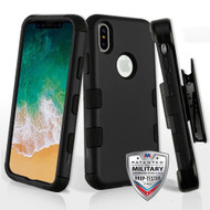 Military Grade Certified TUFF Hybrid Armor Case with Holster for iPhone X - Black 001
