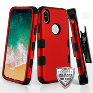 Military Grade Certified TUFF Hybrid Armor Case with Holster for iPhone X - Red 006