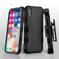 Military Grade Certified TUFF Hybrid Armor Case with Holster + Tempered Glass Screen Protector for iPhone X - Black