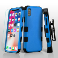 Military Grade Certified TUFF Hybrid Armor Case with Holster + Tempered Glass Screen Protector for iPhone X - Blue