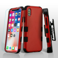 Military Grade Certified TUFF Hybrid Armor Case with Holster + Tempered Glass Screen Protector for iPhone X - Red