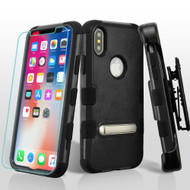 Military Grade Certified TUFF Hybrid Kickstand Case + Holster + Tempered Glass Screen Protector for iPhone X - Black
