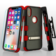 Military Grade Certified TUFF Hybrid Kickstand Case + Holster + Tempered Glass Screen Protector for iPhone X - Black Red