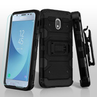 Military Grade Certified Storm Tank Hybrid Case + Holster + Tempered Glass Screen Protector for Samsung Galaxy J3 (2018) - Black