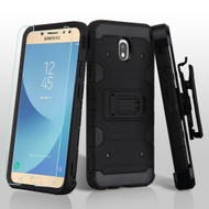 Military Grade Certified Storm Tank Hybrid Case + Holster + Tempered Glass Screen Protector for Samsung Galaxy J7 (2018) - Black