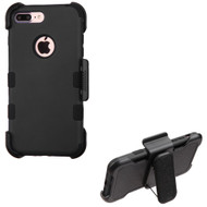 Military Grade Certified TUFF Hybrid Armor Case with Holster for iPhone 8 Plus / 7 Plus - Black