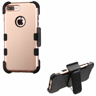 Military Grade Certified TUFF Hybrid Armor Case with Holster for iPhone 8 Plus / 7 Plus - Rose Gold 059