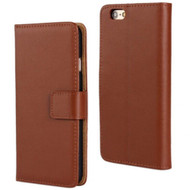 Genuine Nappa Leather Flip Wallet Case for iPhone 6 / 6S - Brown