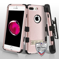 Military Grade Certified TUFF Hybrid Armor Kickstand Case with Holster for iPhone 8 Plus / 7 Plus - Rose Gold