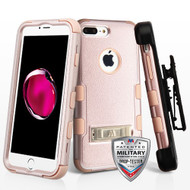 Military Grade Certified TUFF Hybrid Armor Kickstand Case with Holster for iPhone 8 Plus / 7 Plus - Rose Gold 404