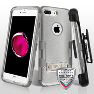 Military Grade Certified TUFF Hybrid Armor Kickstand Case with Holster for iPhone 8 Plus / 7 Plus - Grey