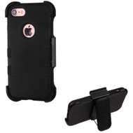 Military Grade Certified TUFF Hybrid Armor Case with Holster for iPhone 8 / 7 - Black