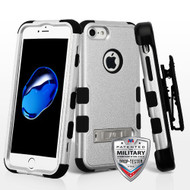 Military Grade Certified TUFF Hybrid Armor Kickstand Case with Holster for iPhone 8 / 7 - Silver