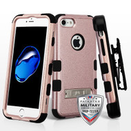 Military Grade Certified TUFF Hybrid Armor Kickstand Case with Holster for iPhone 8 / 7 - Rose Gold