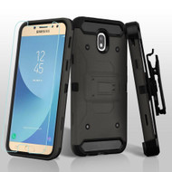 3-IN-1 Kinetic Hybrid Armor Case with Holster and Tempered Glass Screen Protector for Samsung Galaxy J7 (2018) - Grey
