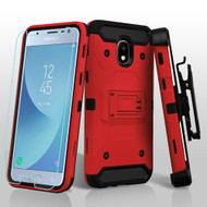 3-IN-1 Kinetic Hybrid Armor Case with Holster and Tempered Glass Screen Protector for Samsung Galaxy J3 (2018) - Red