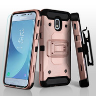 3-IN-1 Kinetic Hybrid Armor Case + Holster + Tempered Glass Screen Protector for Samsung Galaxy J3 (2018) - Rose Gold