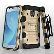 Military Grade Certified Storm Tank Hybrid Case + Holster + Tempered Glass for Samsung Galaxy J3 (2018) - Gold