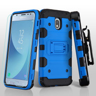 Military Grade Certified Storm Tank Hybrid Case + Holster + Tempered Glass for Samsung Galaxy J3 (2018) - Blue