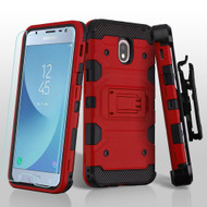 Military Grade Certified Storm Tank Hybrid Case + Holster + Tempered Glass for Samsung Galaxy J3 (2018) - Red
