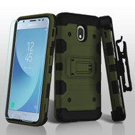 Military Grade Certified Storm Tank Hybrid Case + Holster + Tempered Glass for Samsung Galaxy J3 (2018) - Forest Green