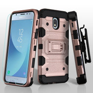 Military Grade Certified Storm Tank Hybrid Case + Holster + Tempered Glass for Samsung Galaxy J3 (2018) - Rose Gold