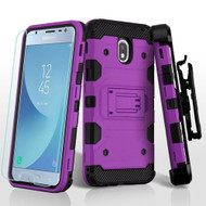 Military Grade Certified Storm Tank Hybrid Case + Holster + Tempered Glass for Samsung Galaxy J3 (2018) - Purple