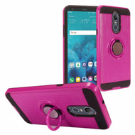 Sports Hybrid Armor Case with Smart Loop Ring Holder for LG Stylo 4 - Hot Pink