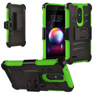 Advanced Armor Hybrid Kickstand Case with Holster and Tempered Glass Screen Protector for LG K30 - Green