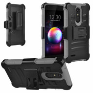 Advanced Armor Hybrid Kickstand Case with Holster and Tempered Glass Screen Protector for LG K30 - Grey