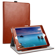 Smart Leather Folio Wallet Stand Case with Auto Sleep/Wake for iPad (2018/2017) / iPad Air - Brown