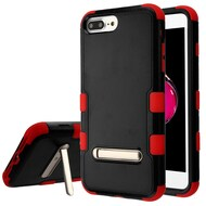 Military Grade Certified TUFF Hybrid Armor Case with Stand for iPhone 8 Plus / 7 Plus / 6S Plus / 6 Plus - Black Red
