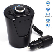 Cup Shaped Design Bluetooth V4.2 Wireless Car Kit FM Transmitter with Dual USB Charging Ports - Black