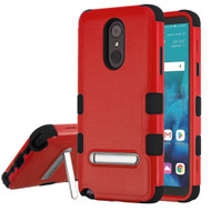 Military Grade Certified TUFF Hybrid Armor Case with Stand for LG Stylo 4 - Red