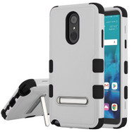 Military Grade Certified TUFF Hybrid Armor Case with Stand for LG Stylo 4 - Grey