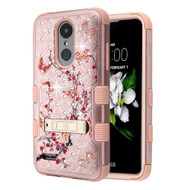 Military Grade Certified TUFF Diamond Hybrid Armor Image Case with Stand for  LG Aristo 2 / Fortune 2 / K8 (2018) / Tribute Dynasty / Zone 4 - Butterfly Spring Flower Rose Gold