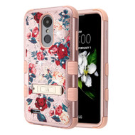 Military Grade Certified TUFF Diamond Hybrid Armor Image Case with Stand for  LG Aristo 2 / Fortune 2 / K8 (2018) / Tribute Dynasty / Zone 4 - Red and White Roses Rose Gold