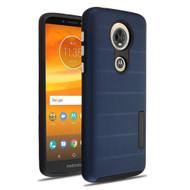 Haptic Dots Texture Anti-Slip Hybrid Armor Case for Motorola Moto E5 Plus - Navy Blue