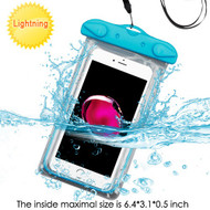 Stay Dry Glow-In-The Dark Waterproof Pouch with Lanyard - Blue