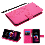 Embossed Butterfly Flower Leather-Style Wallet Stand Case for LG K30 - Hot Pink