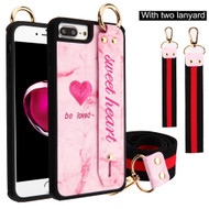 Sweet Heart Hand Strap Case with with Neck and Wrist Lanyards for iPhone 8 Plus / 7 Plus / 6S Plus / 6 Plus - Pink