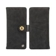 Faux Suede Leather Wallet with Detachable Magnetic Case for Motorola Moto E5 Plus - Black