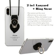 2-IN-1 Smart Loop Universal Smartphone Holder & Stand with Lanyard - Heart Black