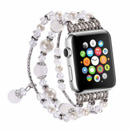 Faux Pearl Natural Agate Stone Watch Band for Apple Watch 42mm - Silver