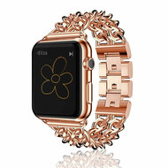 *Sale* Stainless Steel Curb Link Bracelet Watch Band with Smart Knock Down Buckle for Apple Watch 38mm - Rose Gold