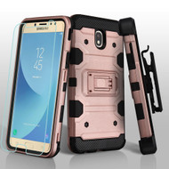 Military Grade Certified Storm Tank Hybrid Case + Holster + Tempered Glass for Samsung Galaxy J7 (2018) - Rose Gold