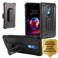 3-IN-1 Rugged Hybrid Kickstand Case with Holster and Tempered Glass Screen Protector for LG K30 - Black