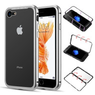 Magnetic Adsorption Aluminum Bumper Case with Tempered Glass Back Plate for iPhone 8 / 7 - Silver