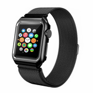 2-IN-1 Aluminum Bumper Case and Stainless Steel Mesh Magnetic Watch Band for Apple Watch 42mm - Black